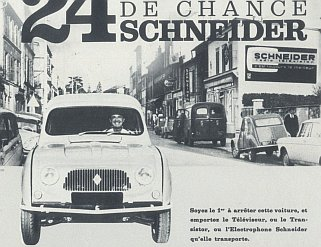 schneider advertisement with 2cv